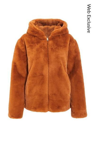 Rust Faux Fur Hooded Jacket